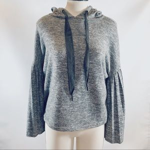 Taylor & Sage Grey Hooded Top Wide Drawstrings